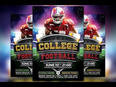 college football flyer template awesome flyer design tutorial youtube