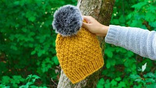 "THE ""ALPES"" HAT, EASY KNITTING PATTERN WITH CIRCULAR NEEDLES 