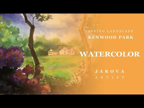 DIY How to PAINT Landscape Kenwood Park London Video lesson painting art Jarova FREE Watercolor