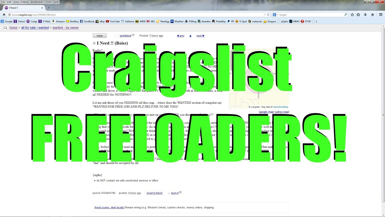 Craigslist Freeloaders My Response To Beggars In The Craigslist