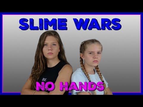SLIME WARS: NO HANDS CHALLENGE || NO BORAX|| Taylor and Vanessa