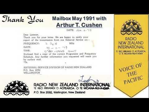 Radio New Zealand International 17770 kHz - Wellington - May 1991 - Mailbox with Arthur T Cushen