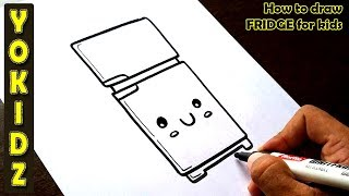How to draw FRIDGE for kids