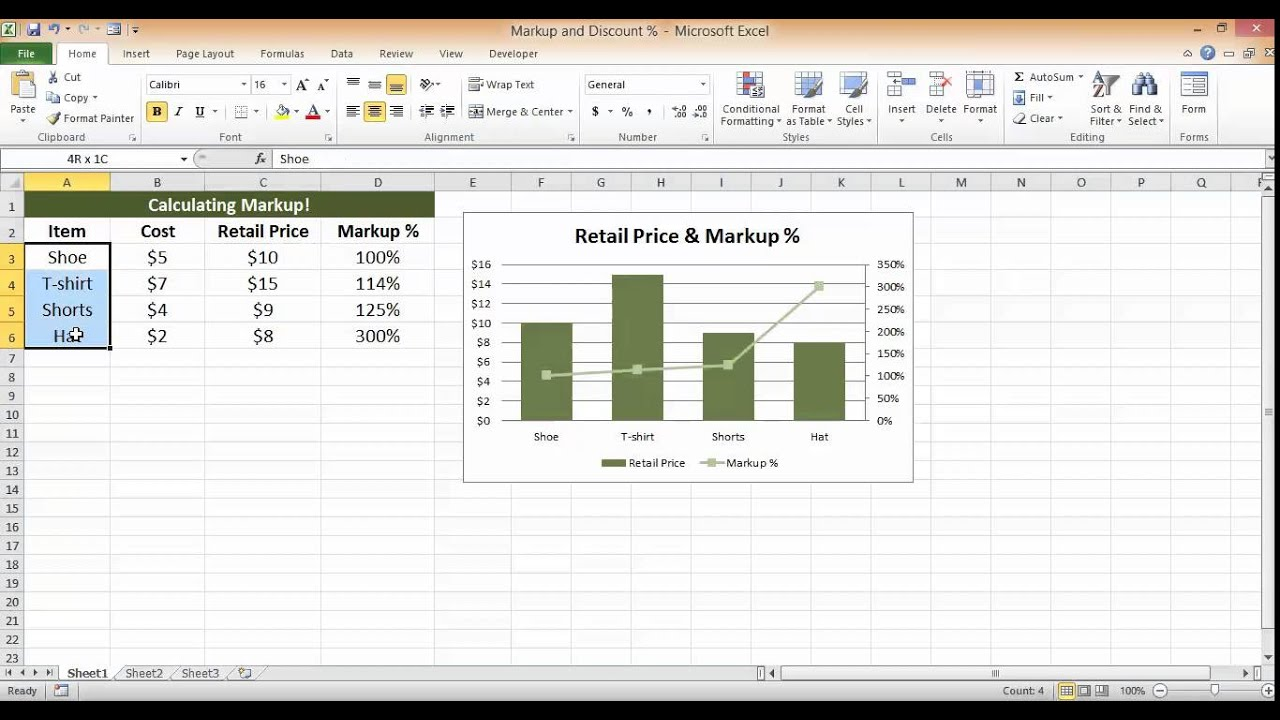 calculate markup percentage in excel youtube