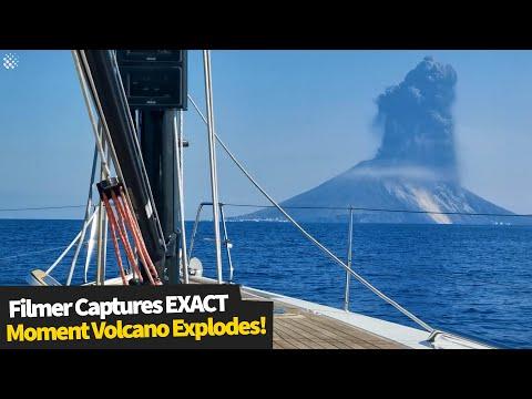 EXACT Moment - Volcano Erupts!