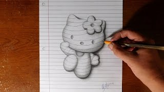 How to Draw Hello Kitty - Line Paper Trick Art
