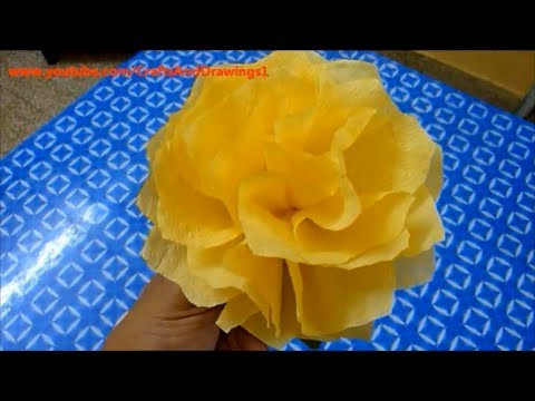How to make a Tissue Paper Flower very easily.... Napkin Flower Making Tutorial ...