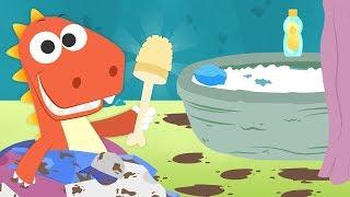Aprende con Eddie a limpiar el baño 🛁 Eddie el dinosaurio recoge el baño después de ducharse