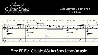 Beethoven: Fur Elise - Free sheet music and TABS for classical guitar