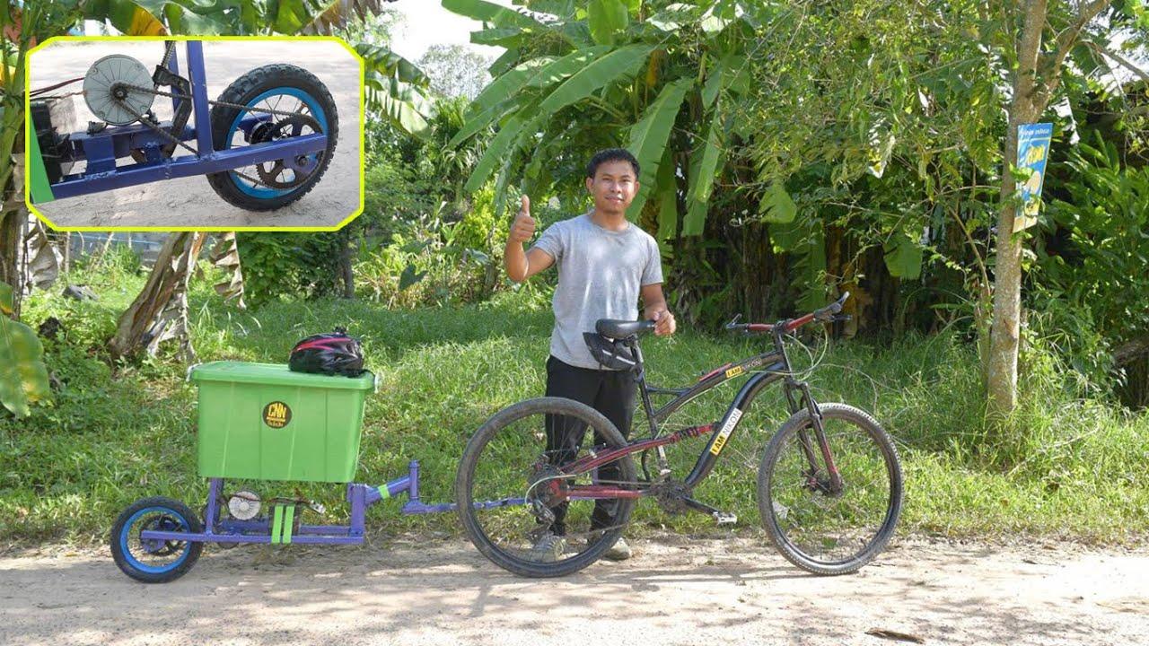 สร้างพ่วงจักรยานบรรทุกของ ขับเคลื่อนด้วยมอเตอร์ไฟฟ้า