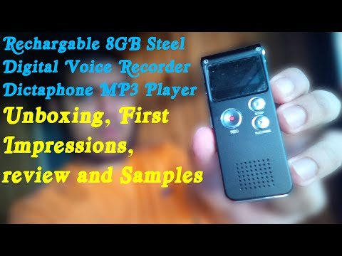 Rechargable 8GB Steel Digital Voice Recorder Dictaphone MP3 Player unboxing, Review, samples