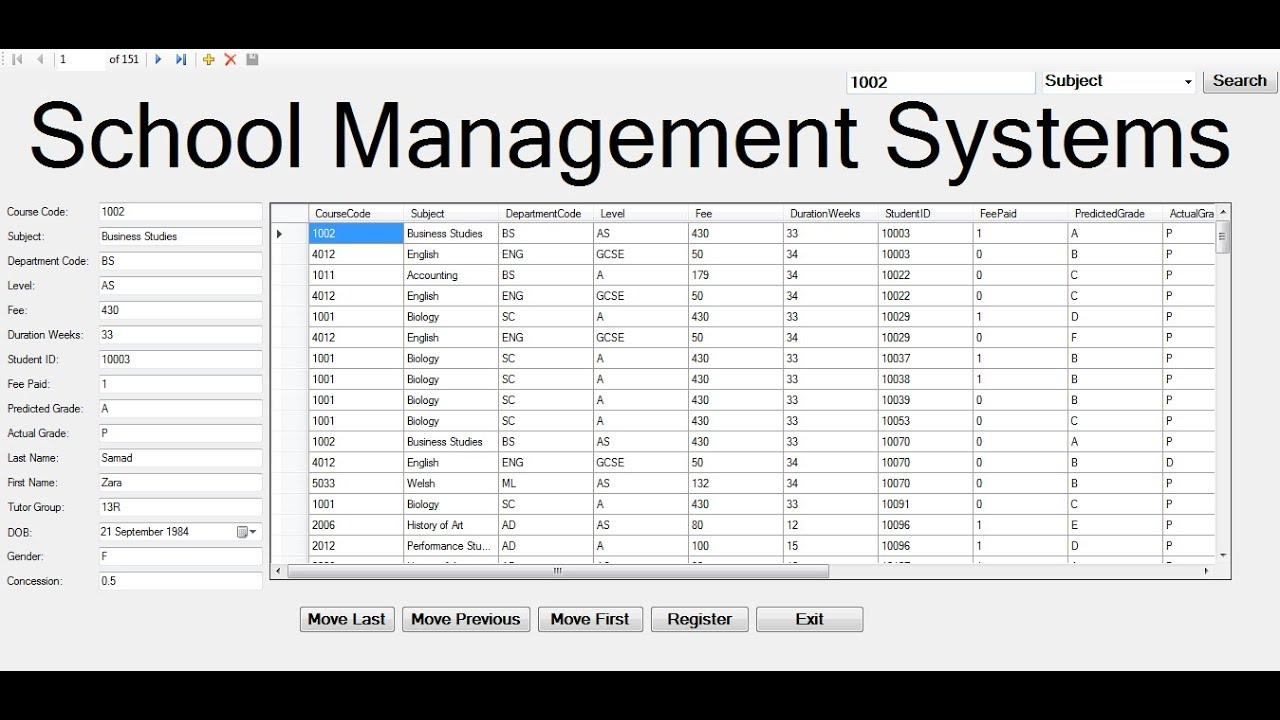 How to Create School Management Systems with Database and Register in  Visual Basic Net