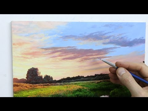 How To Paint Sunset Sky With Acrylics