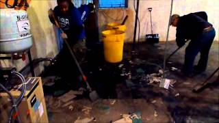 Hurricane Storm Damaged Basement Tile Floor Removal Queens New York
