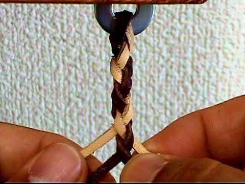 【革ヒモの編み方:4つ組み-②】:022『簡単♪レザークラフト動画』