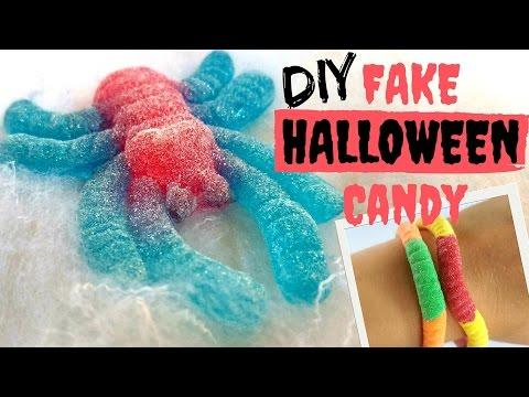 DIY Fake Halloween Candy-Gummy Spider hair clip, Gummy worm bracelets, Spider Lollipop