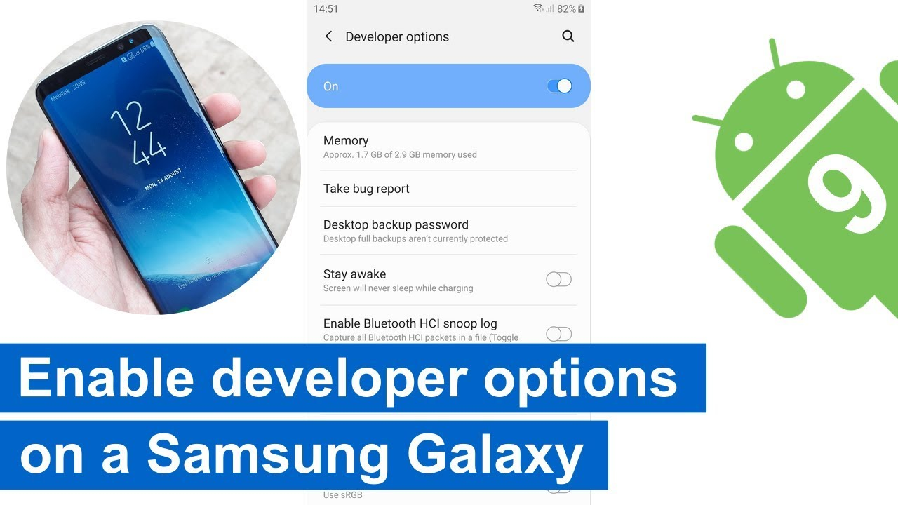 How to enable developer options on a Samsung Galaxy with Android 9