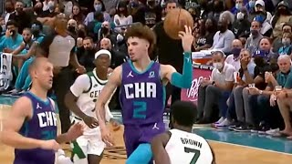 LaMelo Over His Head for Creative High-IQ Dunk!