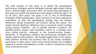 The Psychological Strategies Used by Malaysian National Rugby Players During Asian 5 Nations Rugby T