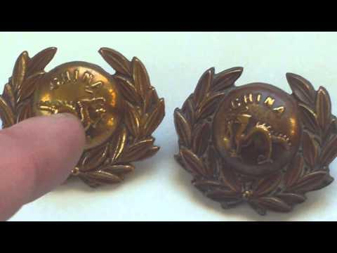 BORDER REGIMENT BRASS 1870-1888 COLLAR BADGES