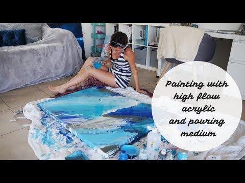 Painting seascape with fluid acrylic high flow medium / Hayley Walker Art