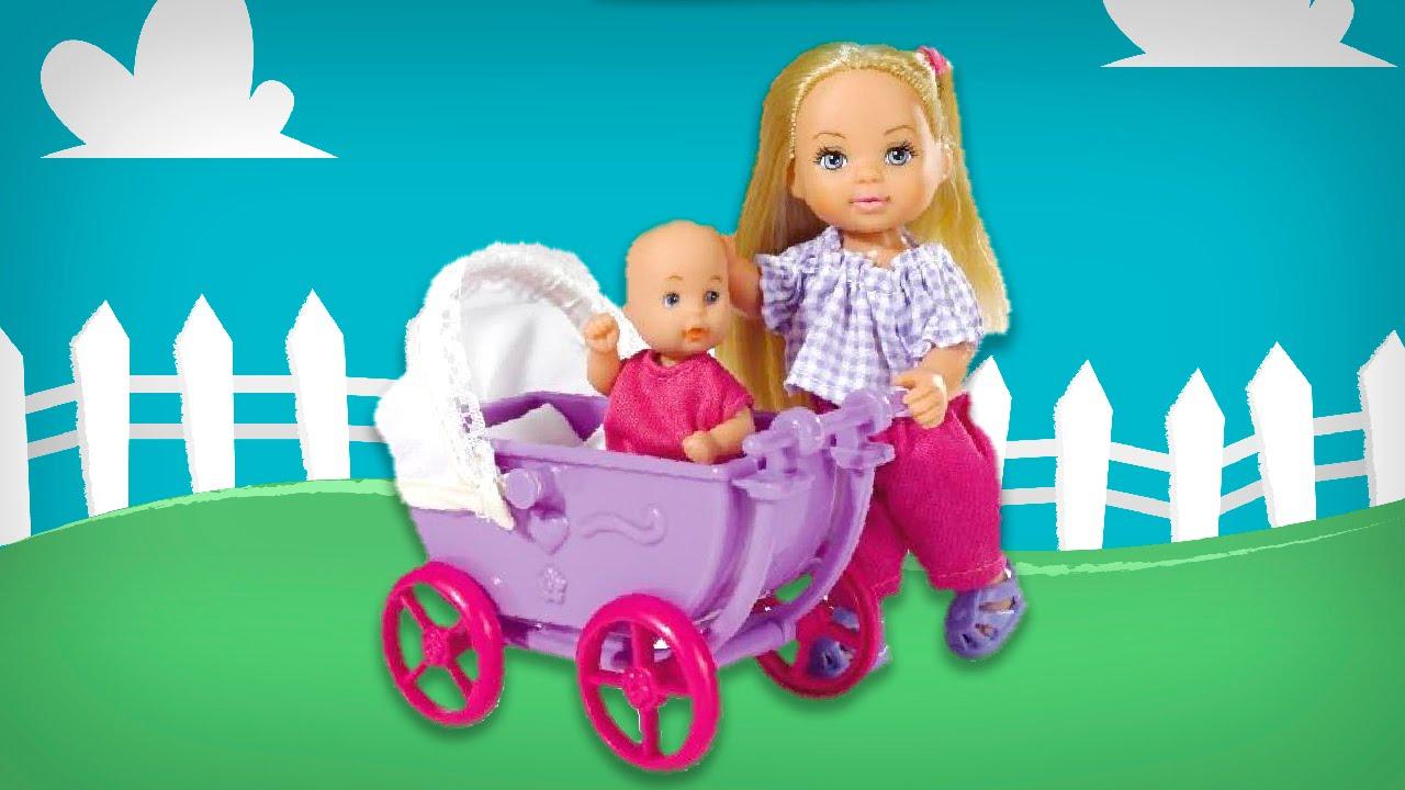 Кукла Еви с малышом в коляске. Обзор Игрушки. Малинка Тв ...
