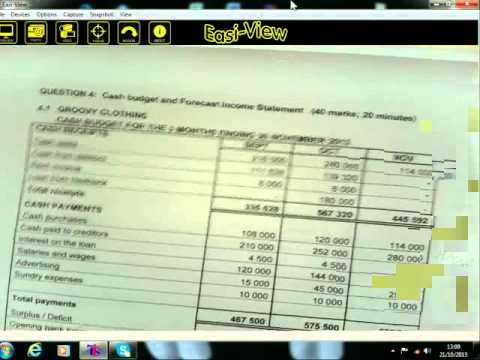 Accounting Gr.12 - Cash Budgets - part 1 - 21.10.2013