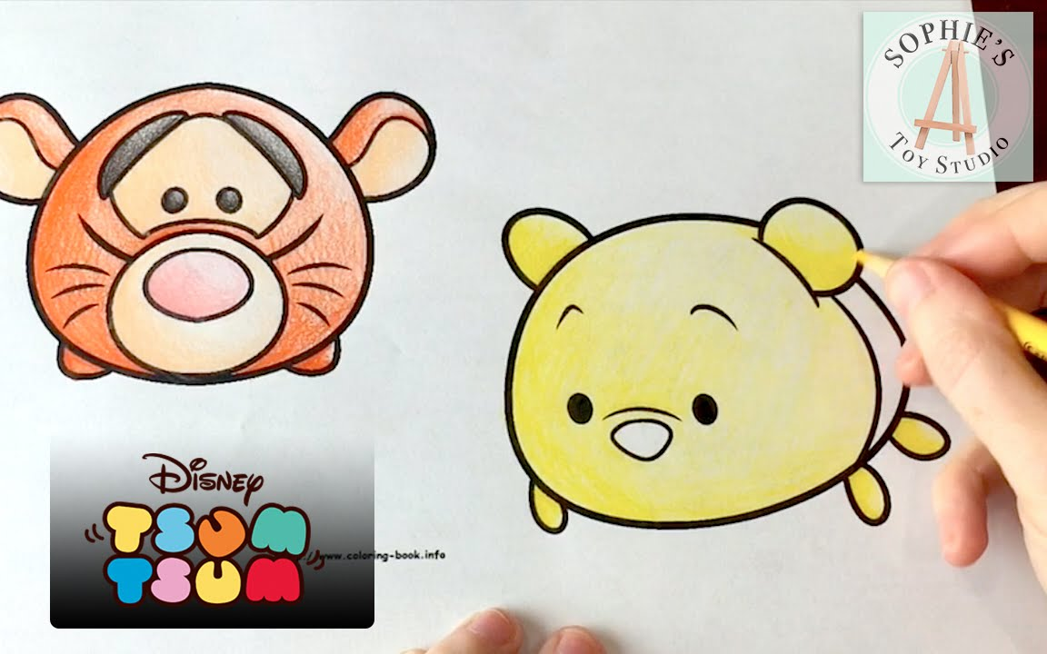 Disney Tsum Tsum Coloring Pages! Adorable Tigger and Winnie the Pooh ...
