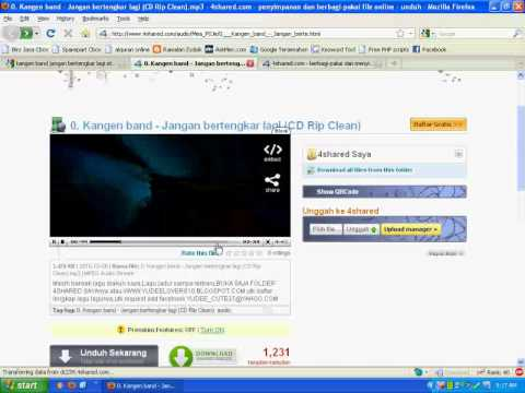 Cara Cepat Download Lagu Mp3 di 4shared.com Tanpa Menunggu Part1/2