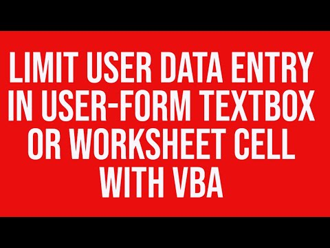Limit User Data Entry In A Ms Excel Userform Textbox Or