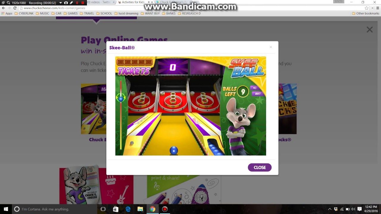 CHUCK E CHEESE SKEE BALL GAME FREE TICKETS - YouTube