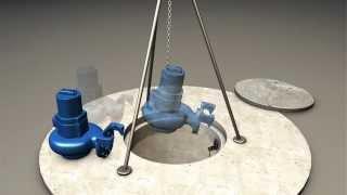 Установка погружных насосов на тросовых направляющих.(Миркания-М - КНС очистные сооружения, жироуловители и многое другое., 2013-07-22T08:24:52.000Z)