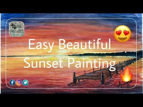 Easy Beautiful Sunset Landscape Painting Tutorial | By Anam | THE ARTIHOLIC