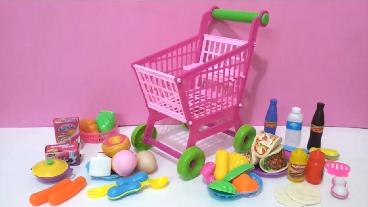 bd72cda16 لعبة عربة التسوق للاطفال مع مجموعه كبيرة من المشتريات العاب بنات, لعبة  السوبرماركت,Shopping Cart Set