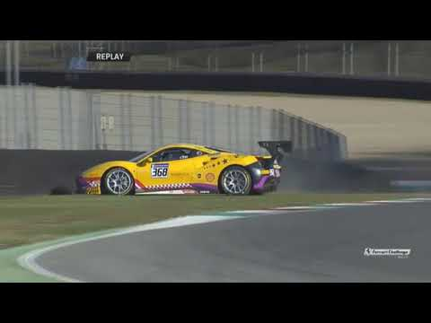 Ferrari Challenge Europe 2017. Q2 Autodromo Internazionale del Mugello. David Lim Crash