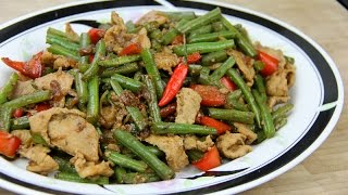 Green Beans With Pork Stir Fry With Caribbean Flavors