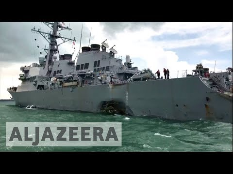 Thumbnail: Ten missing after USS McCain collides with oil tanker near Strait of Malacca