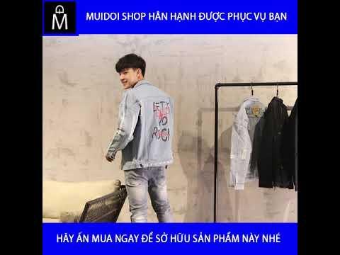 Áo Khoác Jeans Nam Xanh In Chữ Vải Dày đẹp A356 MuiDoi | áo Khoác | áo Khoác Jeans Nam