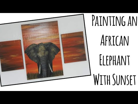 Fast forward oil painting of Elephant with African sunset by Megan Aitken