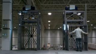 Шахтные грузовые подъемники для компании М видео(На видео запечатлена работа грузовых подъемников на складе компании М.видео. Парная установка подъемных..., 2016-12-16T10:52:47.000Z)