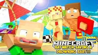 BABY LEAH SAVES A DROWNING BABY w/ LITTLE DONNY- BAYWATCH Minecraft Roleplay!