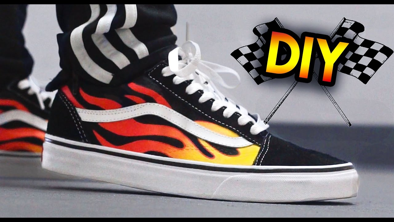 36a3249813ff GIVEAWAY + How To  Hot Rod Flame Vans Custom   On Feet