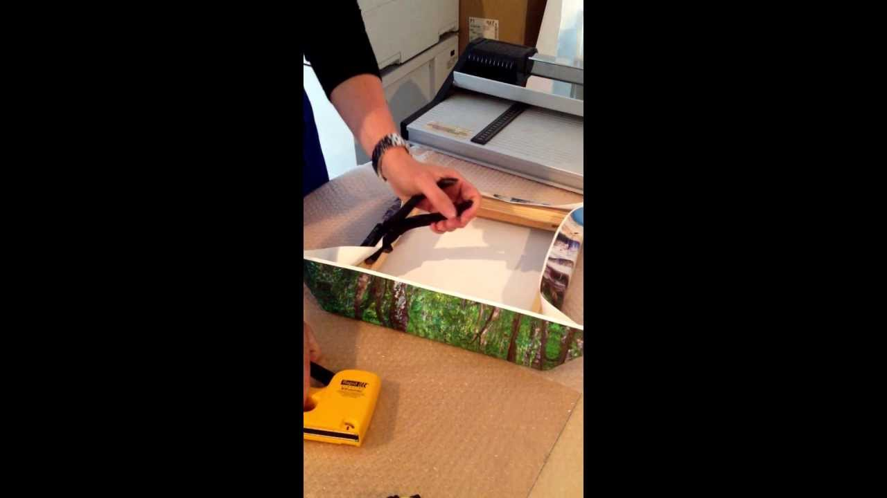 mounting a printed canvas onto stretcher bars youtube