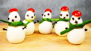 Снеговики из Яиц / Закуска на праздничный стол