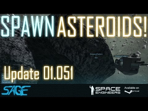 Space Engineers, Adding Asteroids In Creative, & Controlling Ship Turrets! (Update 01.051)
