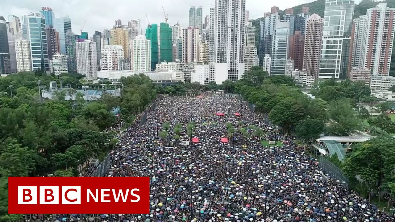 BBC News:Aerial footage shows extent of Hong Kong protest - BBC News