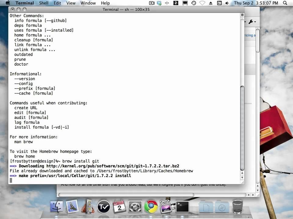 Installing Git on Mac OS X using Homebrew - YouTube