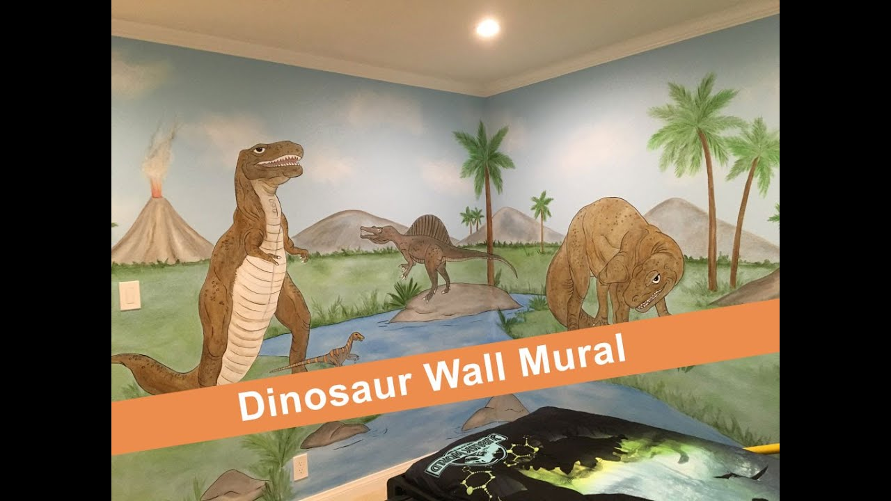 Dinosaur Wall Mural Dinosaur Wall Art Youtube