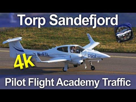 Torp Sandefjord Airport - Pilot Flight Academy Traffic - 4K