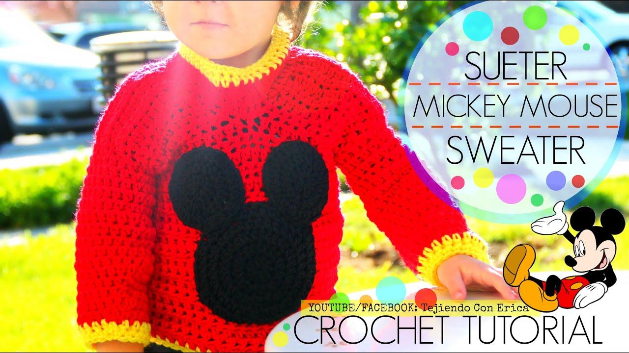 CROCHET SUETER de Mickey Mouse   Tejiendo Con Erica - YouTube